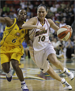 The Storm's Sue Bird, driving on the Sparks' Shannon Bobbitt June 26, will be making her sixth start in the All-Star Game.