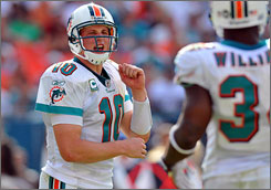 After the being cut by the Jets in August, Chad Pennington won the Comeback Player of the Year award last season for the second time with the Dolphins.
