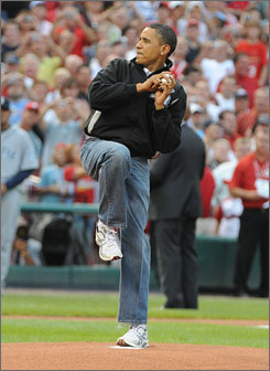 President Obama prepares to throw out the ceremonial first pitch to the 2009 All-Star Game. He is the fourth President (fifth time) to toss out an All-Star first pitch.