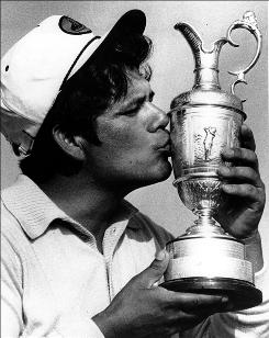 Lee Trevino celebrates winning the British Open for the second straight year in 1972.