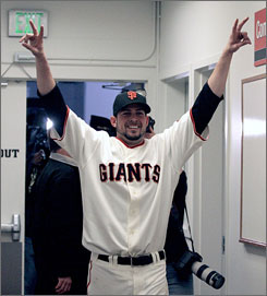 Jonathan Sanchez, celebrating his no-hitter July 10, is part of a Giants pitching staff that has a major league-best 3.51 ERA.