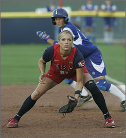 The United States' Jennie Finch plays at first base against Italy in a World Cup of Softball game in Oklahoma City.