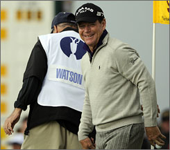 The weather wasn't a huge problem for Tom Watson as the five-time winner shot an even-par 70 to claim a share of the lead.
