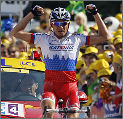 Sergei Ivanov has time to celebrate his stage victory at the Tour de France on Saturday.