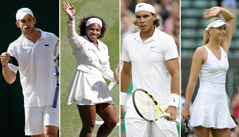(From left to right) Andy Roddick, Serena Williams, Rafael Nadal and Maria Sharapova should be contenders in the tournaments that comprise the US Open Series.