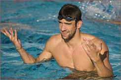 Michael Phelps arrived in Rome and worked out at the world championships pool on Thursday.