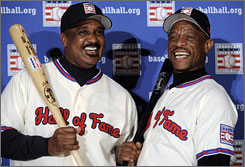 Henderson and Jim Rice, left, met for the first time as Hall of Famers-elect at a January news conference. Henderson was elected on his first ballot, Rice his 15th.