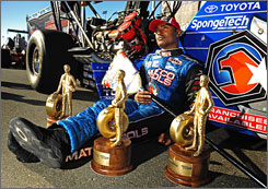 Antron Brown, with broom in hand and three West Coast trophies at his side, joined elite drag-racing company in sweeping the NHRA's Western Swing.