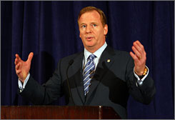 Roger Goodell outlined a reinstatement plan for Michael Vick that depends on the quarterback taking responsibility for his actions and making good personal decisions.