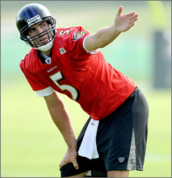 Ravens QB Joe Flacco enters his second season with the club with just one receiver, Mark Clayton, who caught more than 13 passes last season.