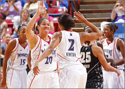 Sacramento teammates Kara Lawson (20) and Chelsea Newton celebrate the closing moments of the Monarchs' overtime win against the Silver Stars.