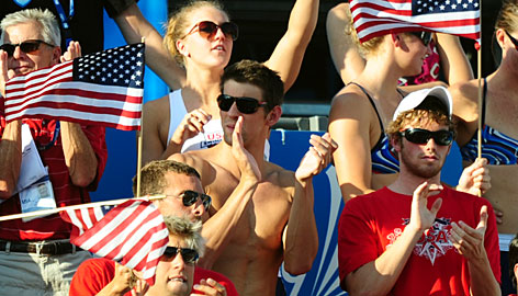 Michael Phelps was among the Americans rooting for Ryan Lochte and Eric Shanteau in the 200-meter IM finals in Rome.