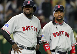 David Ortiz, left, and Manny Ramirez formed a feared heart of the Red Sox lineup until Ramirez's 2008 trade to the Dodgers.