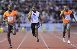 Tyson Gay proved he's in good shape for August's world championships by posting a 9.79 time in the 100-meters.