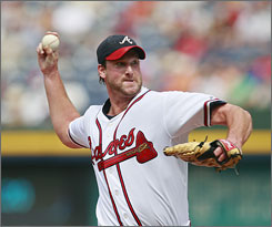Braves starter Derek Lowe allowed three runs and five hits to his former team the Dodgers and won his fourth straight decision.