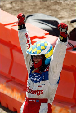 Kenny Brack celebrates after winning the Rally Car Racing Super Special Final, the final official event of the 2009 X Games. Brack won the Indianapolis 500 in 1999.