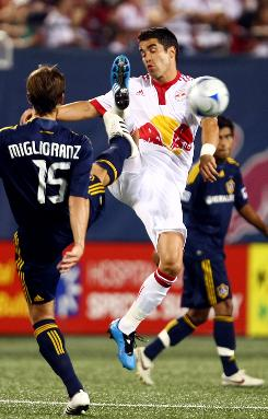 Juan Pablo Angel, right, has seven of the Red Bulls' 16 goals in league play.