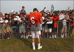 New Bears QB Jay Cutler has elicited great enthusiasm from Chicago fans and developed a strong bond with third-year tight end Greg Olsen in his first week of training camp.