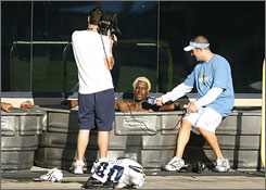 Chargers special teamer Kassim Osgood arrived at training camp with his hair dyed blonde.