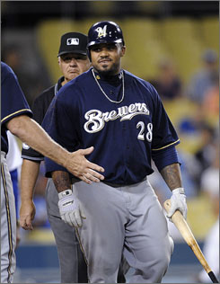 Prince Fielder was upset after Dodgers pitcher Guillermo Mota drilled him with two outs in the ninth.