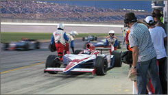 Ryan Hunter-Reay leaves the pits, just before a collision hampered his chances of gaining ground at Kentucky Speedway.