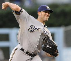 Brewers pitcher Braden Looper pitched into the seventh inning Wednesday night, shutting down the Dodgers offense for his 10th victory.