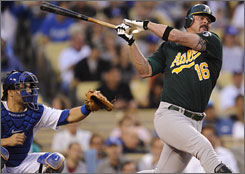 Former AL MVP Jason Giambi struck out in his second term with the Athletics, batting just .193 this season.