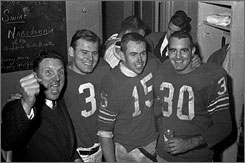 Coach Lou Saban, left, led the Buffalo Bills to the AFL championship in 1964 and 1965.