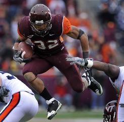 Virginia Tech's Darren Evans is nursing a season-ending torn knee ligament suffered in practice.