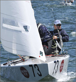 Americans George Szabo and Rick Peters are shown competing at a regatta last March in Florida. Last week, the pair won the star class world title in Sweden.