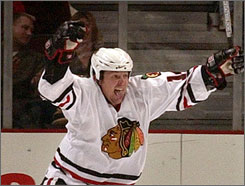 Theo Fleury, who last played for the Chicago Blackhawks, had 455 goals and 1,088 points in his NHL career.