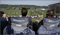 The view from Seahawks camp in Renton, Wash., offers a glimpse at the scenery in the Pacific Northwest and evokes memories from an old television show Twin Peaks, which was taped nearby.