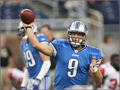 Matthew Stafford completed 7 of 14 passes for 114 yards and a touchdown to win his pro debut with the Detroit Lions.