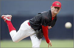 Stephen Strasburg pitches for San Diego State this past season. Baseball's No. 1 overall draft pick is headed to the Washington Nationals with a four-year, $15.1 million contract.