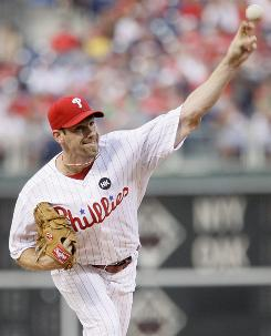 Phillies pitcher Cliff Lee carried a no-hit bid into the sixth inning and finished with a two-hitter.