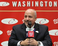 Mike Rizzo, who has been acting general manager of the Washington Nationals, was named general manager and senior vice president of baseball operations.