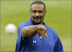Jim Rice throw out the first pitch during opening festivities at the Little League World Series.