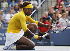 Serena Williams couldn't keep up with Elena Dementieva on Saturday in a straight-set loss in the Rogers Cup semifinals.