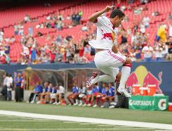 Juan Pablo Angel celebrates one of his goals Sunday against FC Dallas at Giants Stadium in E. Rutherford, N.J.