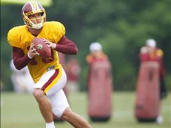 Washington quarterback Chase Daniel, shown here during training camp at Redskins Park in Ashburn, Va., is right in the mix for the Redskins' No. 3 quarterback position.