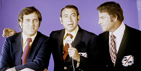 Frank Gifford, right, was a big hit in the early years of Monday Night Football along with Howard Cosell, center, and Don Meredith.