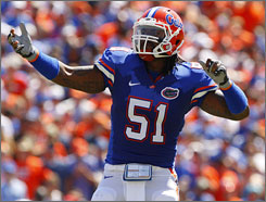Florida linebacker Brandon Spikes is the emotional leader of a defense that should be strong in 2009.