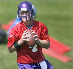"""Brett Favre said of his chemistry with the Vikings, """"There's some work to do in that area."""""""