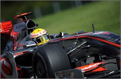 Lewis Hamilton drives through the Spa-Francorchamps Circuit in practice on Friday ahead of the Belgian Grand Prix.