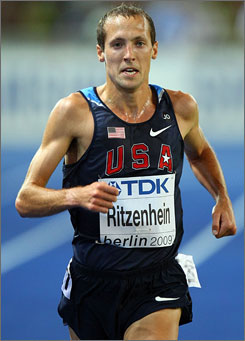 Dathan Ritzenhein, known as a longer-distance runner, set the American record in the 5,000 meters at the Golden League meet in Switzerland on Friday.