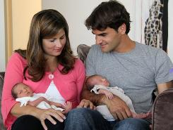 Roger  Federer and wife Mirka with their twin daughters Charlene Riva and Myla Rose. The twins were born July 23.