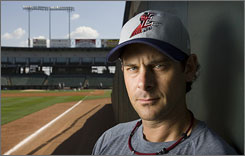 """Third baseman Aaron Boone, on a minor league rehab assignment Aug. 22, had open-heart surgery in March. """"I'm just going to play and enjoy the last month."""" he said."""