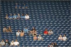 There were many empty seats at a preseason game between the Falcons and Lions in Detroit on Aug. 15.