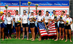 The USA women's eight celebrates its world title last weekend in Poland.