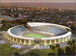 The Olympic Stadium for the 2016 Chicago Games would be a temporary structure in Washington Park seating 80,000.